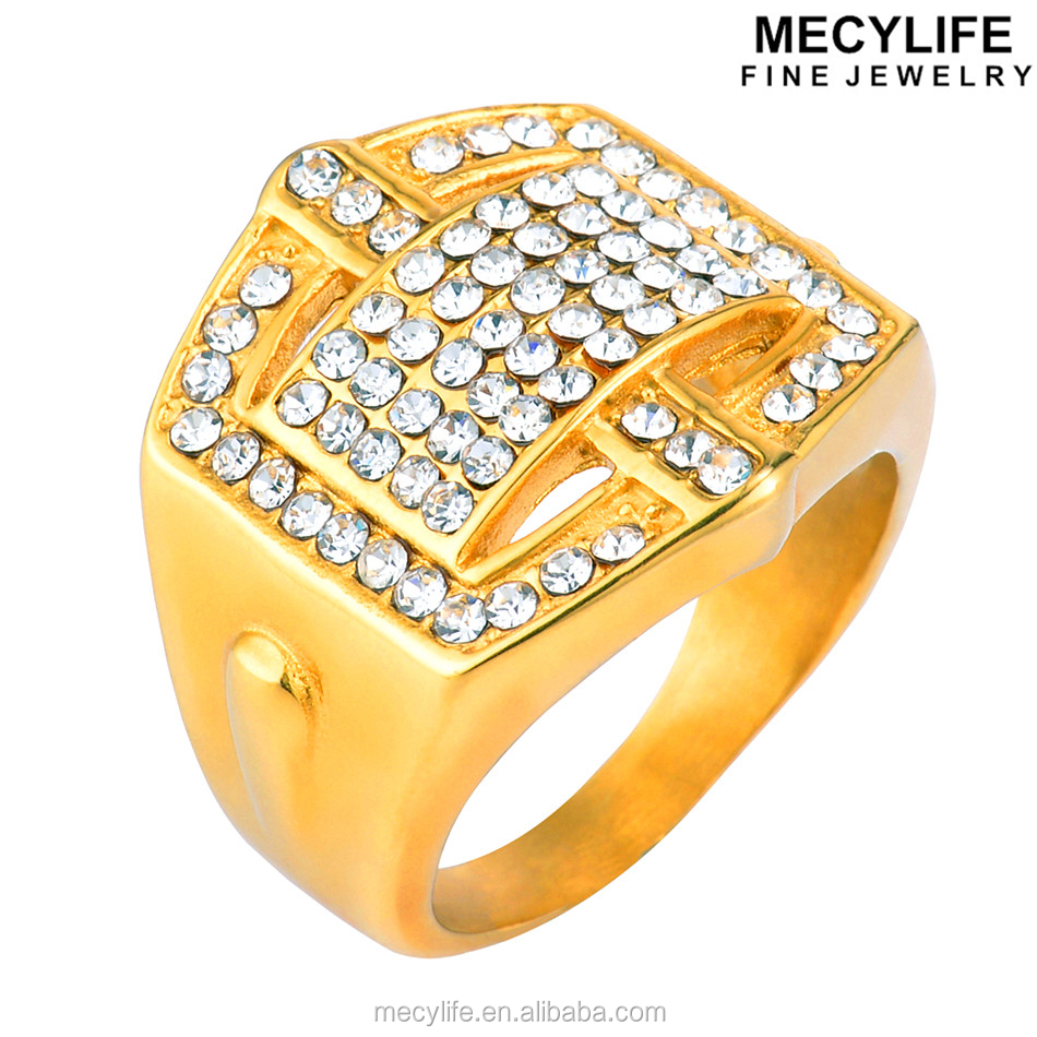 MECYLIFE 18k Real Gold Plated Stainless Steel Wedding Diamond Wave Ring