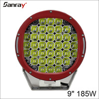 "Red black round 9"" 185w 4wd spot led driving work light"