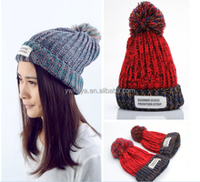 100% Acrylic Soft Slouchy Beanies knit Warm Winter Unisex Cap Thick Women's Men Hat with 6 Colors