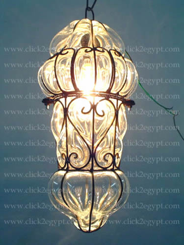 B80 Old French Style Clear Glass Wrought Iron Hanging Lamp