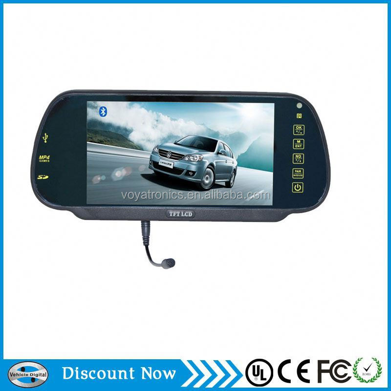 "3-way video input 7 "" inch car video monitors/car rear view mirror with monitor"