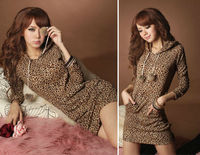 Sexy Lady Fashion Boho Maxi Hoodies Pullover Leopard Sweater Dress Clothing