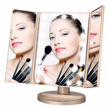 Gold Color Trifold Three Panel 180 Degree Free Rotation 21Pcs LED Mirror, Touch Screen Led Cosmetic Makeup Mirror with Lights