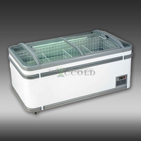 600 - 1000 LITERS CURVED GLASS LID ENERGY SAVING ISLAND FREEZER