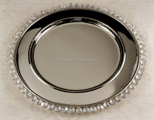 Metal wedding table charger dinner plates with crystal beads