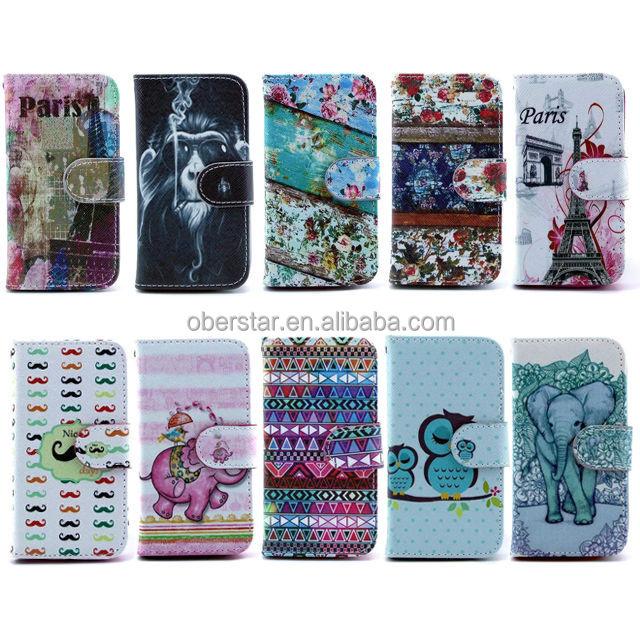 Wholesale product for Samsung Galaxy S4 mini i9190 New product printed wallet leather case
