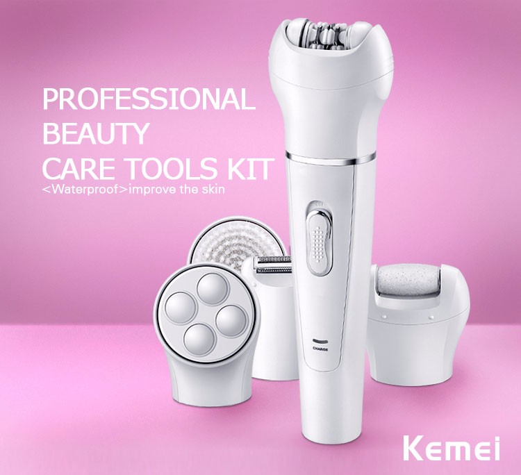 Kemei KM2199 New Style 5 in 1 Lady Beauty Care Product Lady Epilator with Shaver Facial Brush Callus Remover and Massager