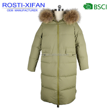 Newest Ladies Winter Duck Down Real Fur Long Coat with Zipper