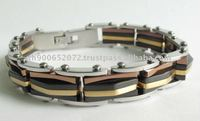 2011 Latest Fashion Gold and Black Fashion Stainless Steel Bracelets