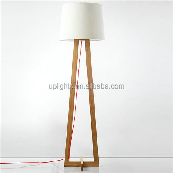 Modern Wood Floor Standing Lamps Fabric Lampshade Cord Wooden Tripod Base Floor Lamp