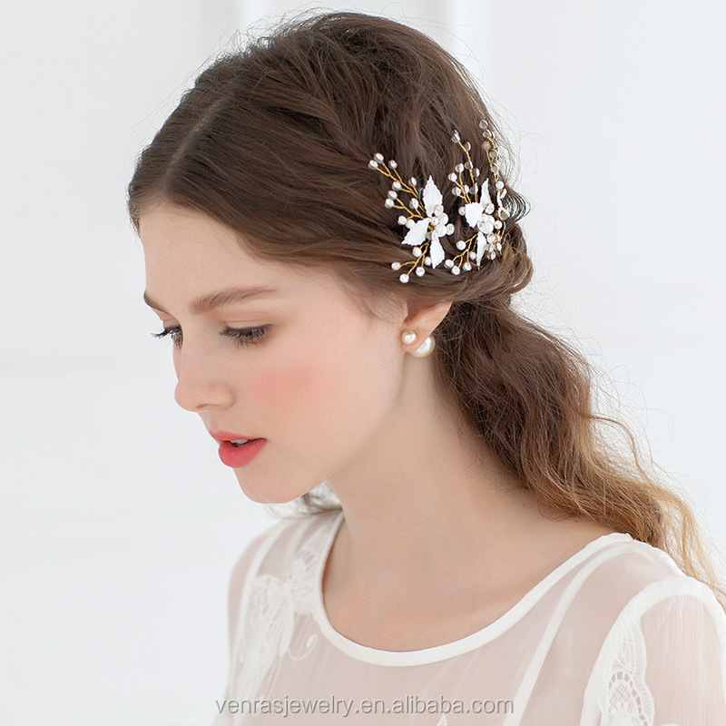 flower leaf gold crystal combs hairpins wedding accessories bridal party jewelry rhinestone hair pins stick