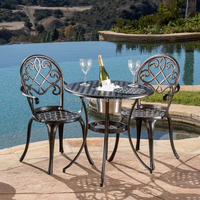 Angeles Cast Aluminum Outdoor Bistro Furniture Set with Ice Bucket