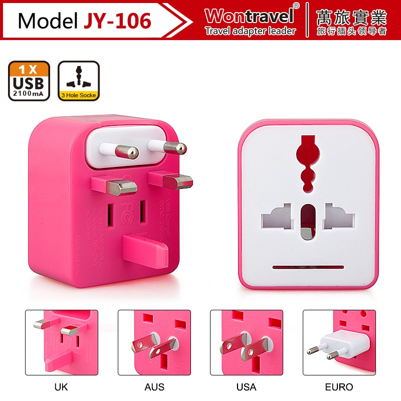 JY-106 Universal Multi-nation Travel Adapter With Usb Port,Voltage Converter 220v To 110v Power Transformer