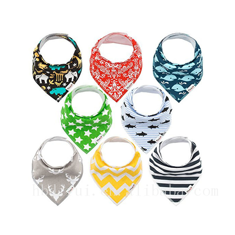100% Decorate screen printing baby bandana bibs cotton