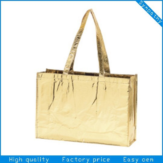 Polypropylene Various Color Quilted Metallic Laminated Non Woven Tote Bags