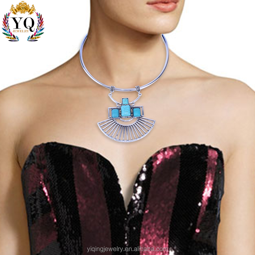 NYQ-00064 2017 fashion bohemian style natural turquoise stone necklace
