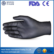knitted nylon coated black nitrile gloves/working nitrile glove/safety glove