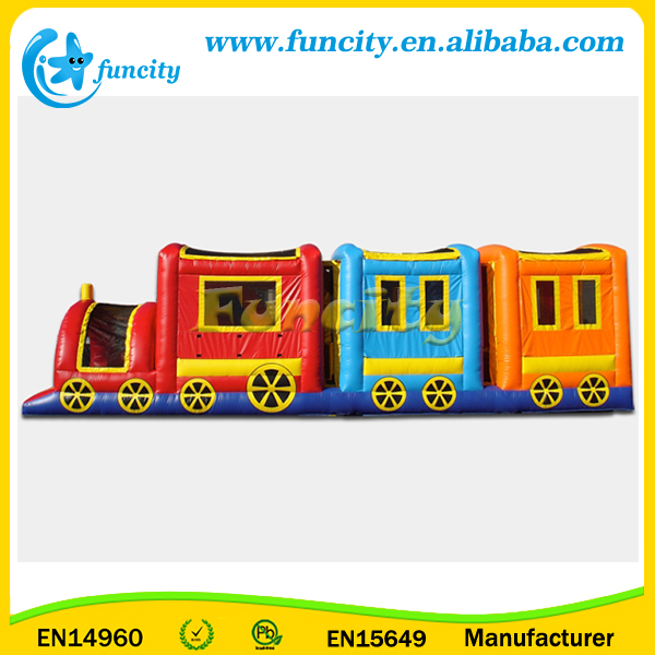 Inflatable Obstacle course train castle bouncer for kids have fun and exercise