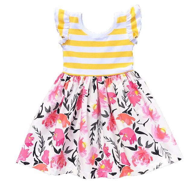In Stock 2018 New Fashion Child Clothing Printed Flower S Fl Dresses White Dress Net