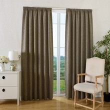 Thermal Blackout Rod Pocket Curtains Elegant Faux Linen Drapes for Living Room/Bedroom/Cafe