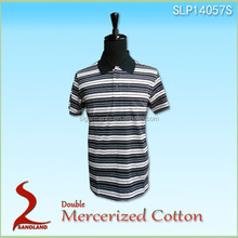 2015 Double Mercerized Polo shirts with Single Jersey Stripe color