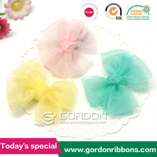 organza ribbon hair ornament,organza hand flower bows with clip for girl