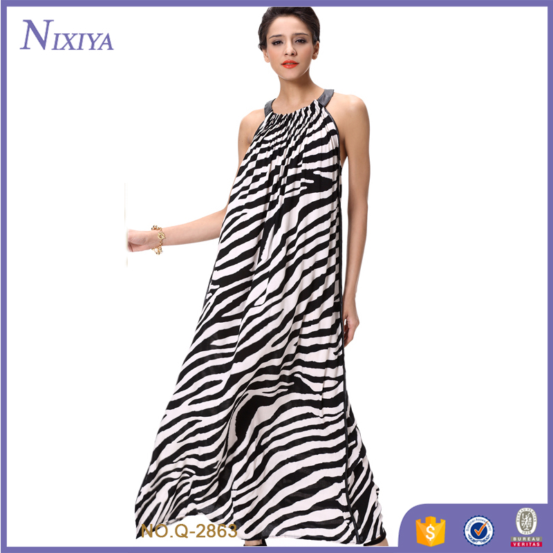 Zebra Stripes Print Loose Halter Dress Chinese Clothing Companies