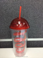 16oz double wall plastic tumbler cup with straw