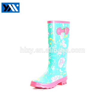 Hot selling flower printed elephant rubber rain boots for ladies