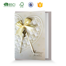 Luxury lace silk butterfly wedding invitation card, hot stamping handmade wedding card designs