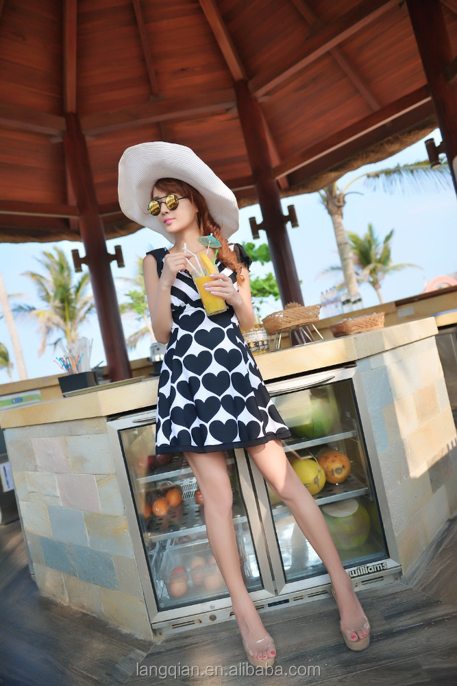The most popular dot design new arrival bikini cover up sunflower 2017 summer beach dress