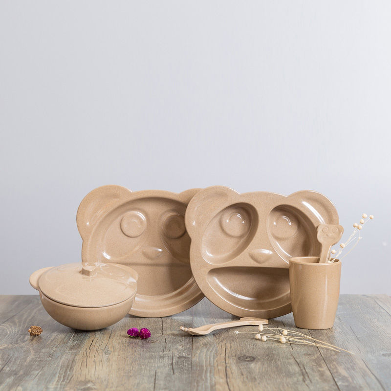 FDA Approved bamboo fiber kid dinner set, children dinnerware