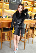 New Women Black 100% Genuine Lambskin Leather Overcoat With Fox Fur Collar