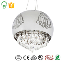 hot sale round metal shade pendant lamp crystal lighting for home and hotel