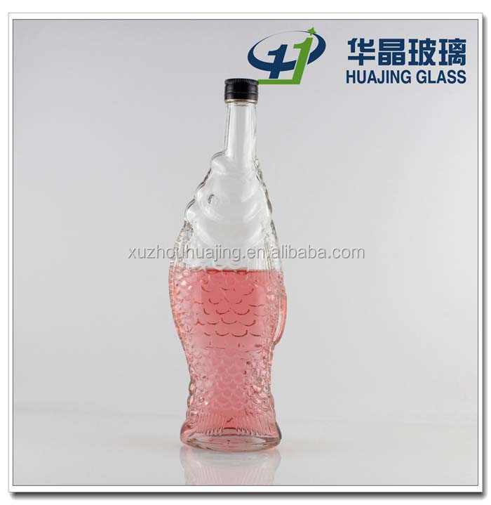 500ml fancy fish shaped glass bottle for cooking olive oil with screw cap