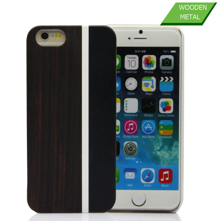 Customise wood rubber hybrid case for iphone 6 metal