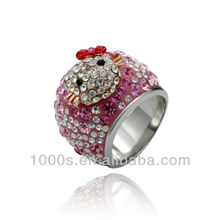 925 sterling silver pave crystal ring with lovely smile