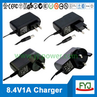 universal lithium battery charger 8.4v 1a for lithium battery pack 7.4v