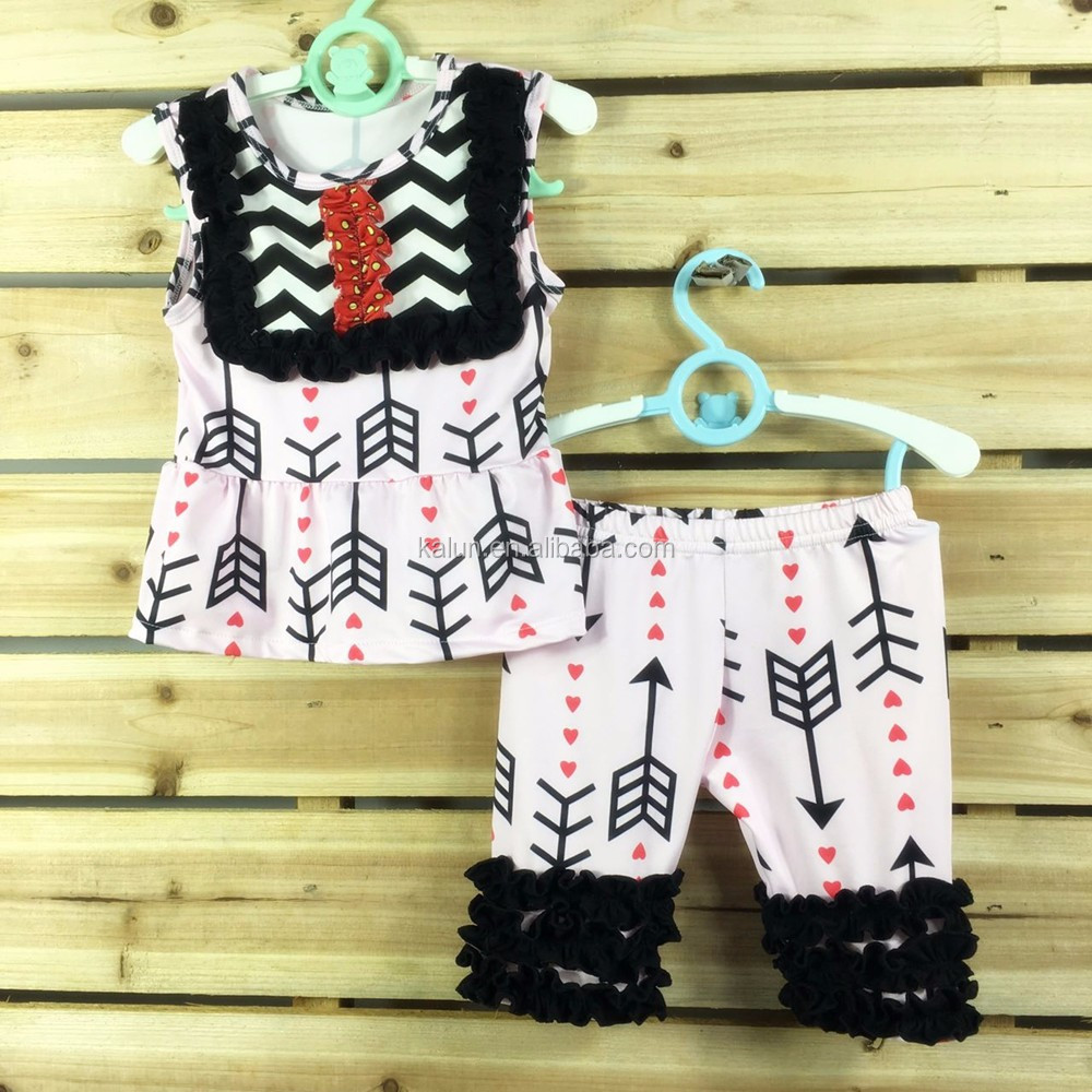 kL-OF-081 Hot Selling Persnickety Girls Ruffle Pants Baby Girls capri sets Wholesale Children Boutique Clothing USA 2017