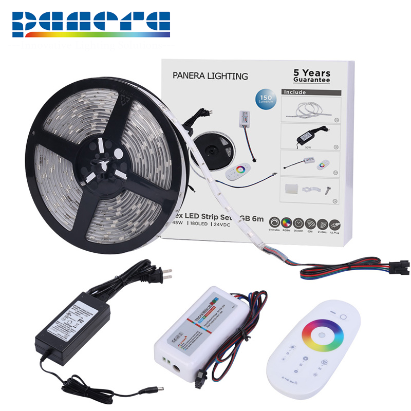 Promotion 180leds 6m 24v waterproof <strong>rgb</strong> 5050 flexible led light strip kit with power supply for cabinet decoration