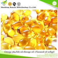 GMP Certificated Omega 369 fish oil Borage oil Flaxseed oil softgel capsule