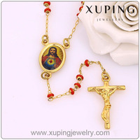 42790-xuping fashion long Jesus cross 24k yellow gold plated bead necklaces
