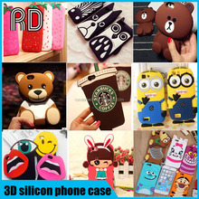 2016 Over 60 models 3D silicone phone case, cute cartoon Animal silicone phone case for iphone 7/7plus/6s/6/6 plus for samsung