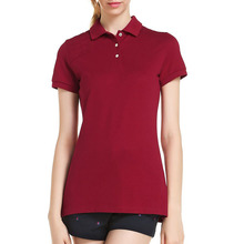 Alibaba Express China Women Clothing 100%Pique Cotton Polo Collar Red T Shirt Wholesale Ladies Plain Polo Shirt Dresses