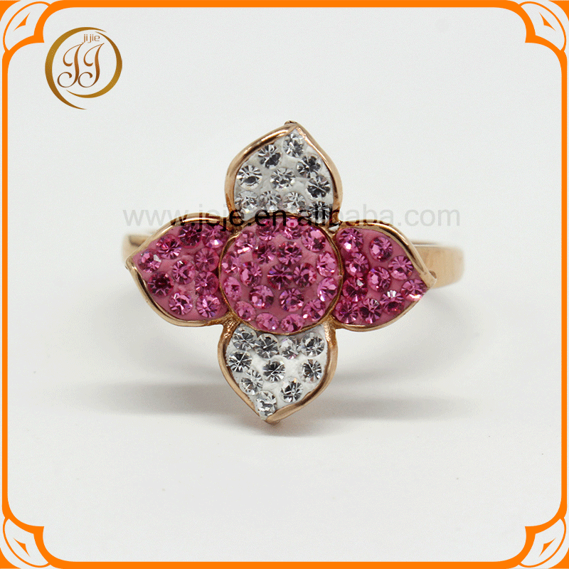 Wholesale Stainless Steel Rose Gold Plated Beautiful Crystal Flower Finger Rings