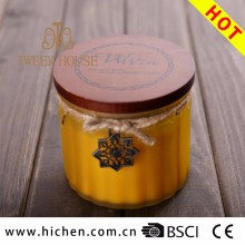 Wholesale Wood Lid Frosted Glass Candle Jars With Pure Soy Wax For Decoration