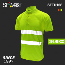polo shirt seamless go dry performance tee for men's t-shirt no side seam dry fit high visibility reflective safety polo shirts