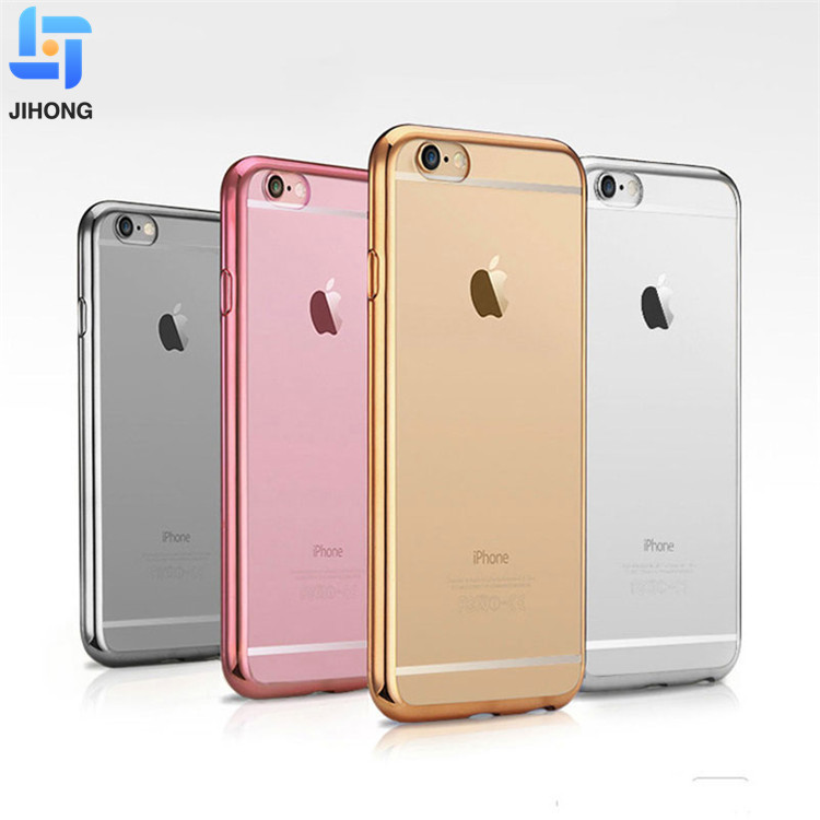 Case For iPhone 5 5S SE 6 6S 7 8 Plus Luxury Plating Transparent TPU Silicone Soft Phone Cases Cover For iPhone X Case