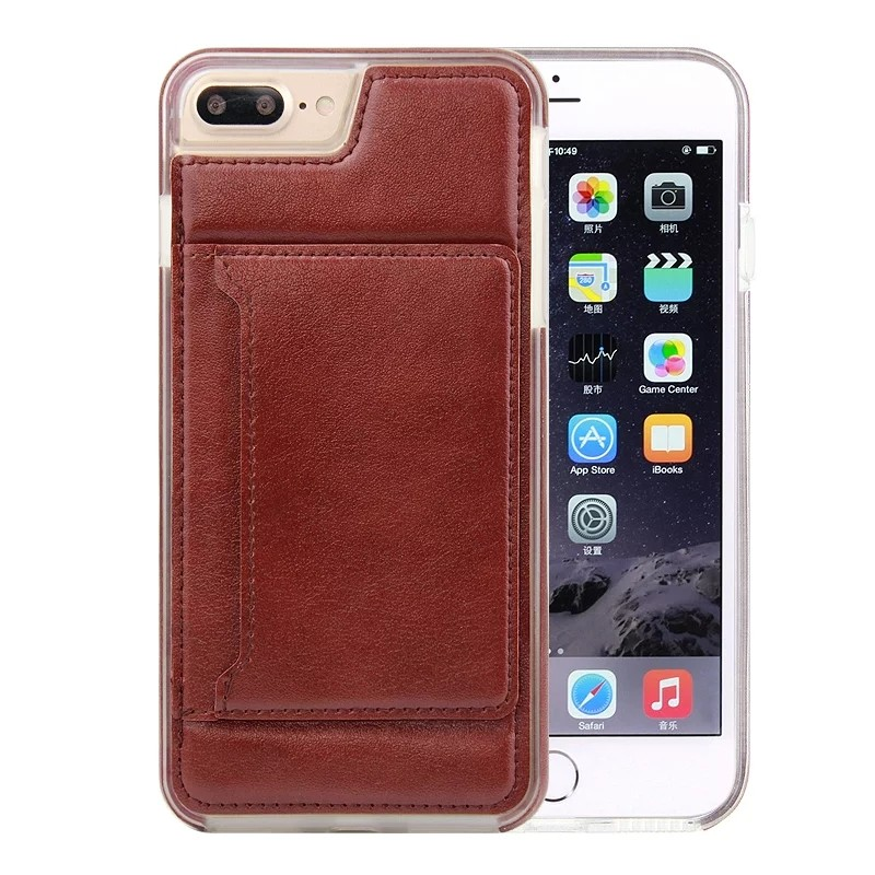 PU Leather Phone Case for iPhone 7 leather skin stand mobile accessories Transparent TPU Bumper cover for iPhone7 plus