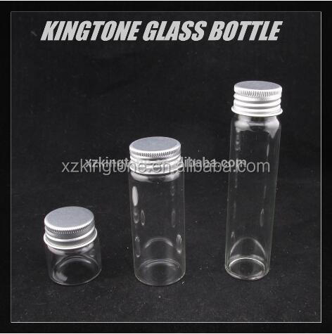 Glass test candy tube with aluminum screw cap
